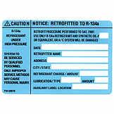 A/C R134a Refrigerant Retrofit Label NTC A5386