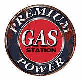 Vintage tin sign - Gas station - 30 cm diam. CIC 40224PKA